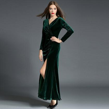 Plunge V Long Sleeve High Slit Slim..