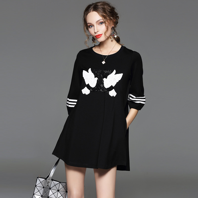 2016 autumn new high quality embroidery sequins cropped sleeve women formal casual dresses
