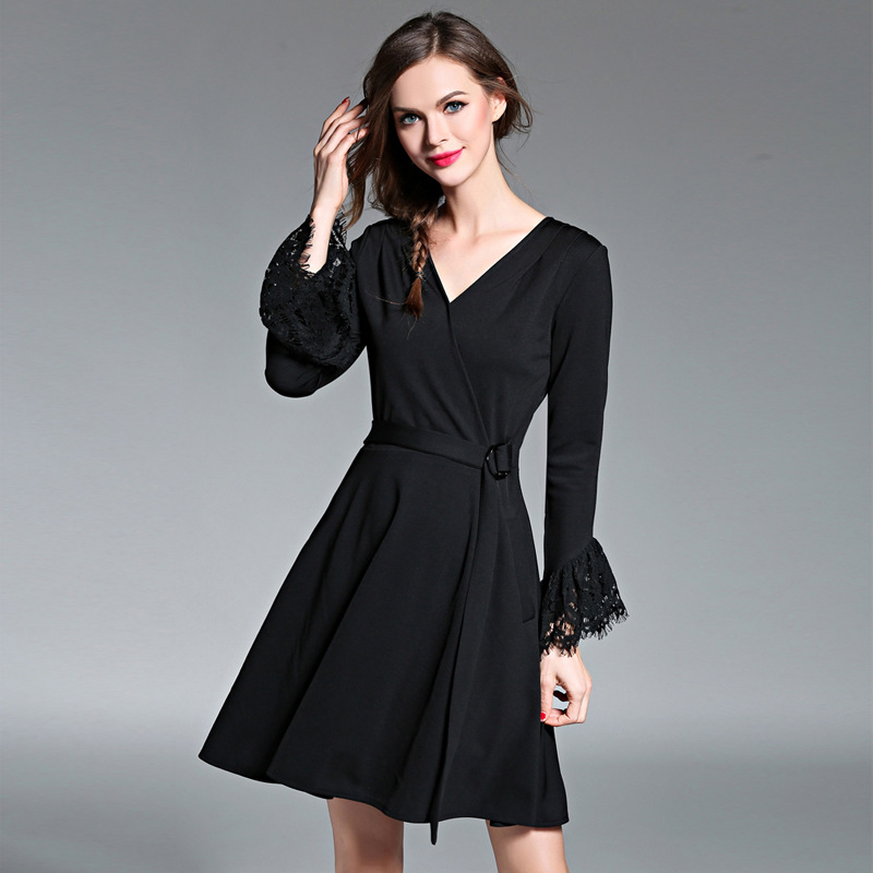Europe luxury fashion women's lace v-neck long sleeves black casual formal dress, short party dress