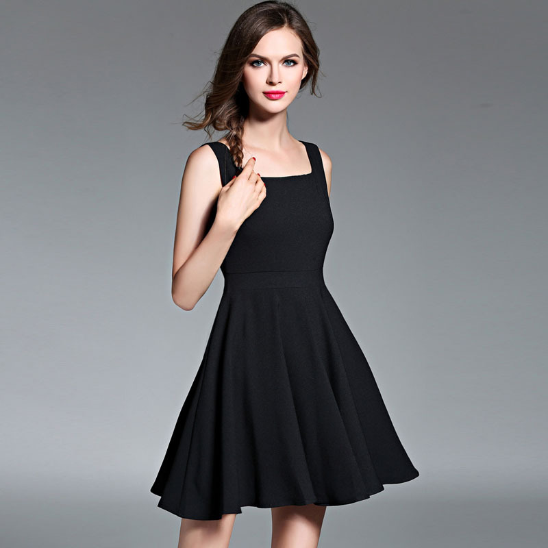 2016 autumn in Europe and America the new sleeveless vest Hepburn skirt a line little black dress, formal dress, casual dress
