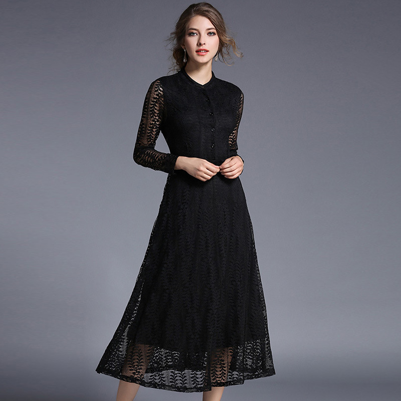 Europe Autumn 2016 New Lace Long Sleeve Black Elegant Romantic